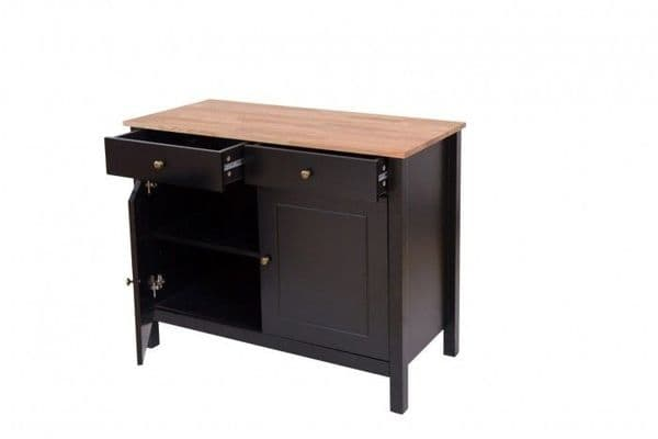 Thonon Black Frame With Oiled Wood Small Sideboard 19LD377